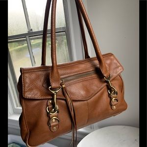 Gorgeous Via Spiga Tan Brown Leather Satchel Bag